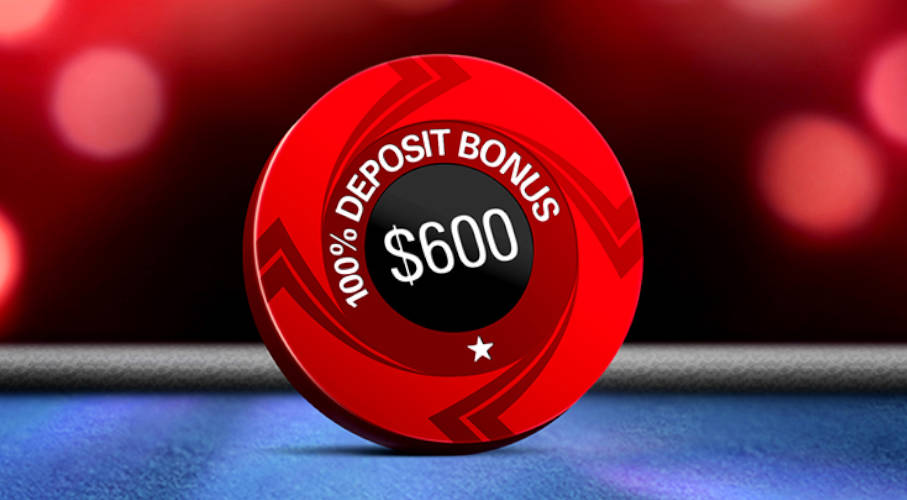 A PokerStars' chip with a welcome deposit on it.