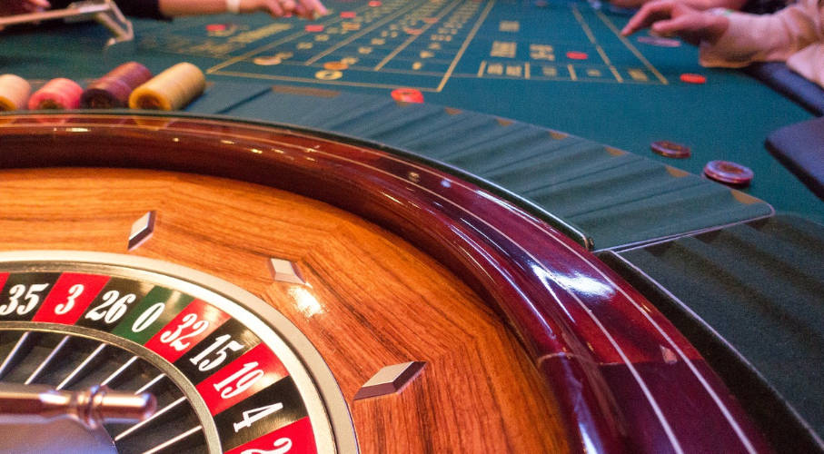 A roulette table in a land-based casino
