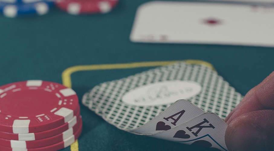 an ace and a king in a game of poker