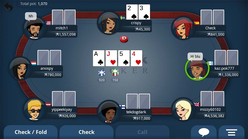 Playing Texas hold'em on your Android.