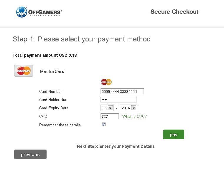 credit card details