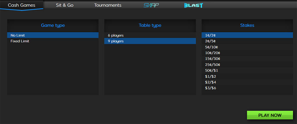 Instant-play online poker lobby